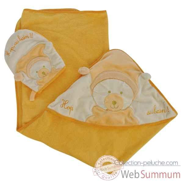 peluches coffret cadeau naissance cape de bain et gant mandarine doudou compagnie. Black Bedroom Furniture Sets. Home Design Ideas