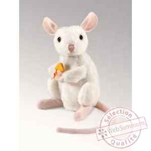 Marionnette peluche  souris blanche assise folkmanis 2925