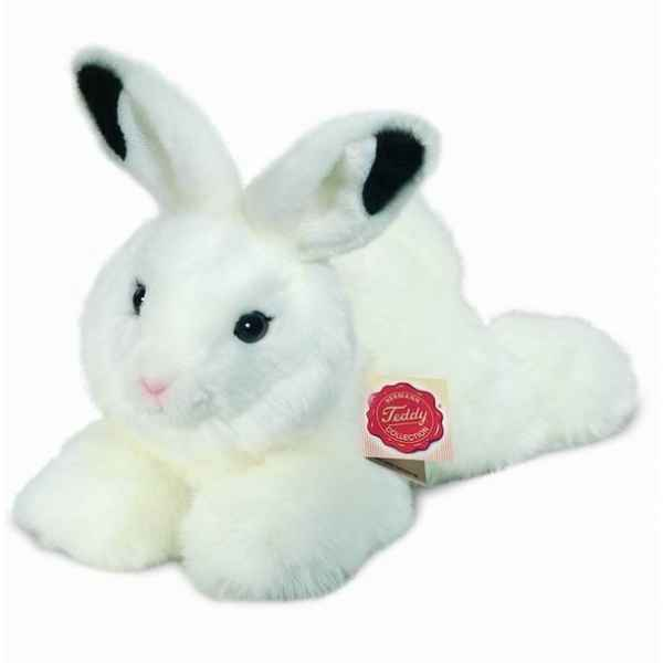 Peluche Lapin couche blanc Hermann Teddy collection 28cm 93754 8