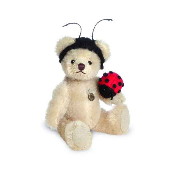 Ours en peluche de collection teddy avec coccinelle 10 cm hermann -15493 8