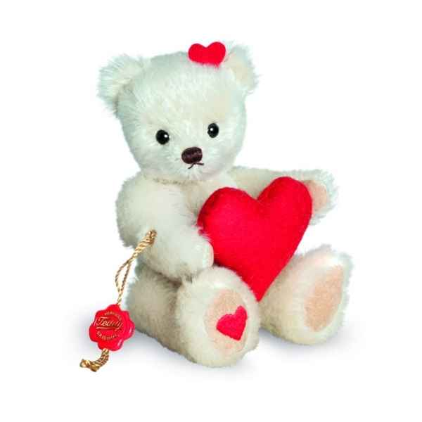 Ours en peluche de collection teddy avec coeur 15 cm hermann -15612 3