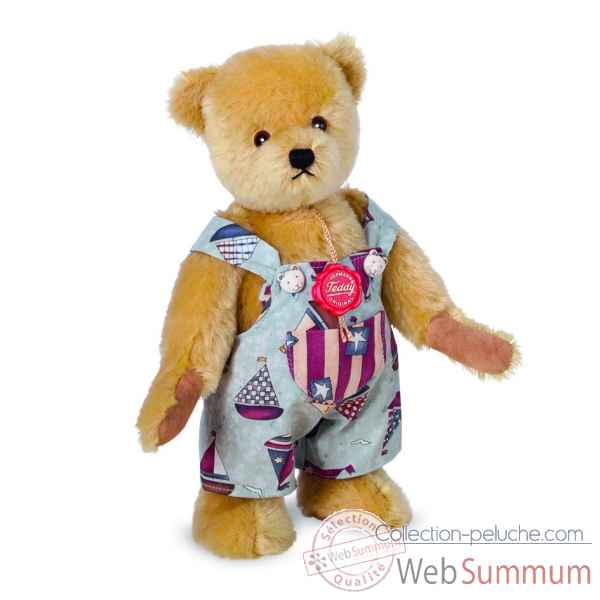 Ours en peluche de collection teddy avec salopette 28 cm hermann -16428 9