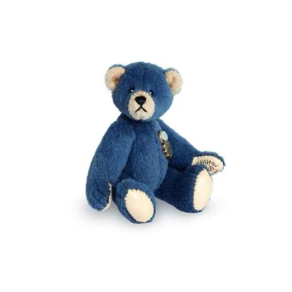 Ours en peluche de collection teddy bleu 6 cm hermann -15418 1