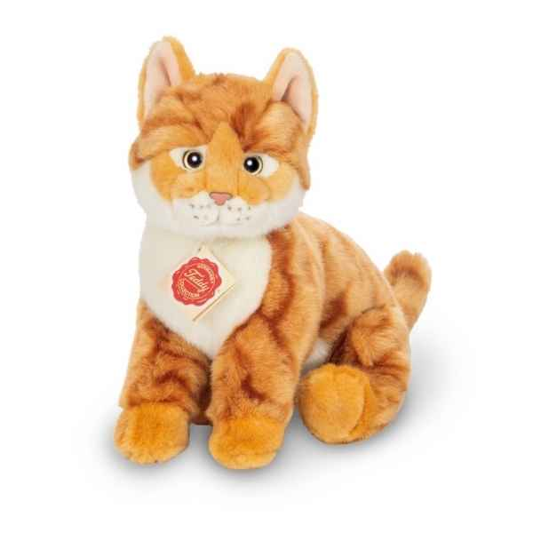 Peluche chat assis tigre roux 24 cm hermann teddy -91829 5