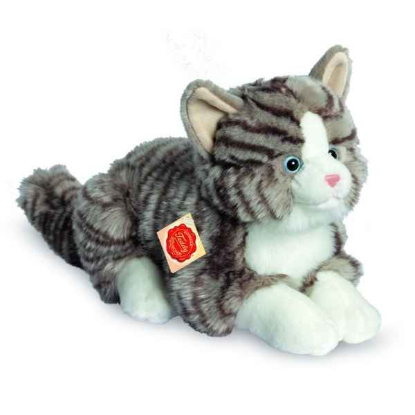 Peluche chat gris couche 30 cm Hermann -91821 9