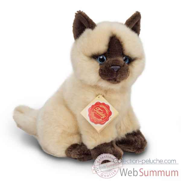 Peluche chat siamois assis 20 cm hermann teddy -91824 0
