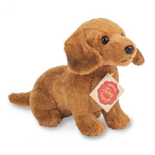 Peluche chien teckel assis marron 19 cm hermann teddy -91943 8