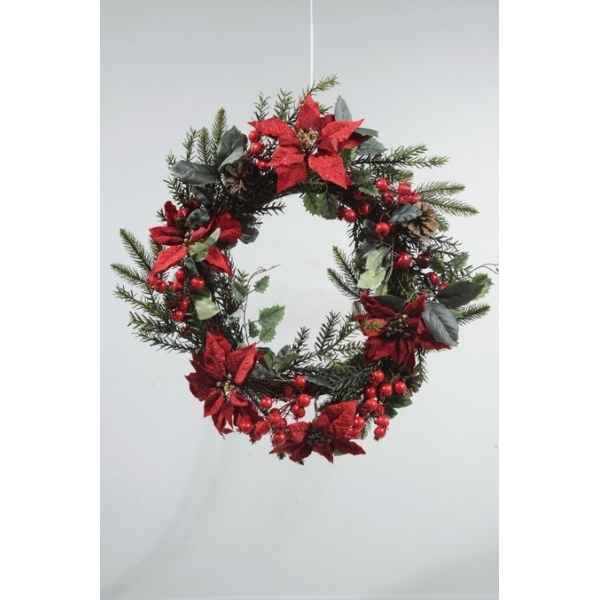Couronne poinsettia baies Kaemingk -685185