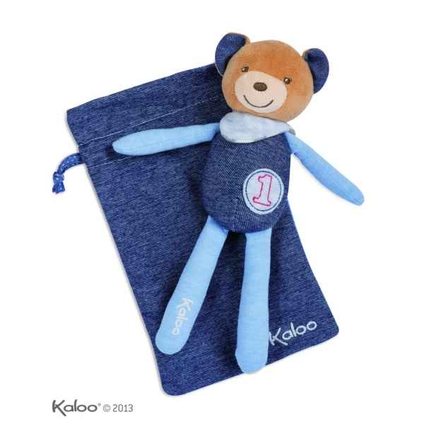 blue denim - doudou bebe ours champion Kaloo -K960077