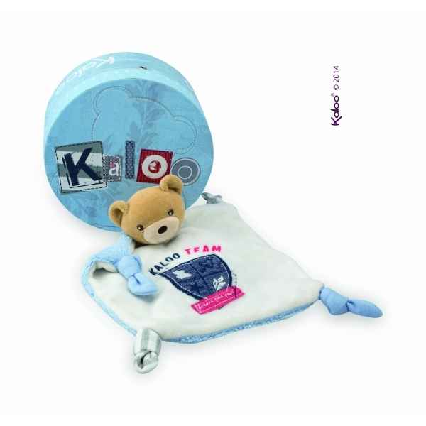 blue denim - doudou ourson kaloo team -K960024