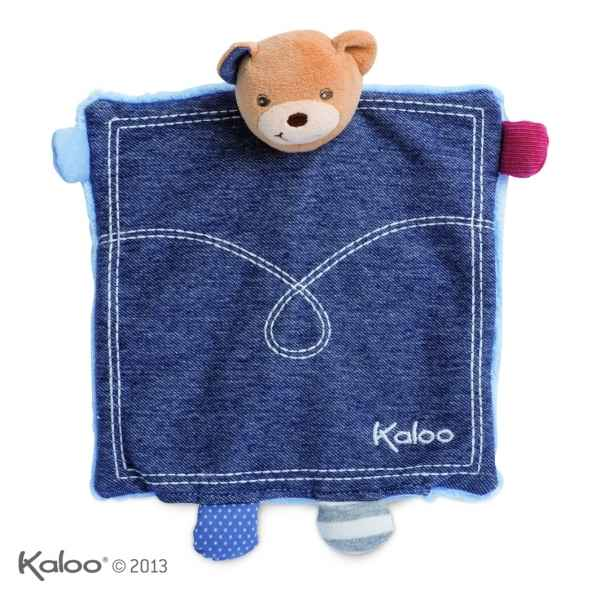 blue denim - doudou ourson tresor marionnette Kaloo -K960066