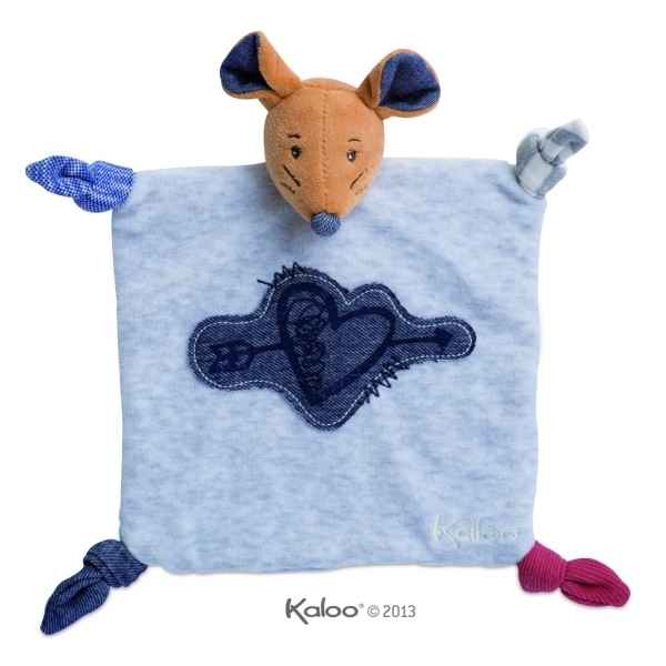 blue denim - doudou souris coeur tendre Kaloo -K960065