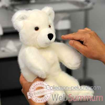 peluche Martin ours peluche 30 cm blanc les petites maries -FABH1OURMARB