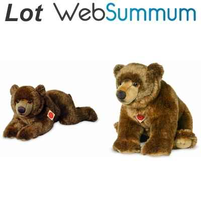 Lot 2 Peluches ours brun allonge 60cm et assis 50cm -LWS-437