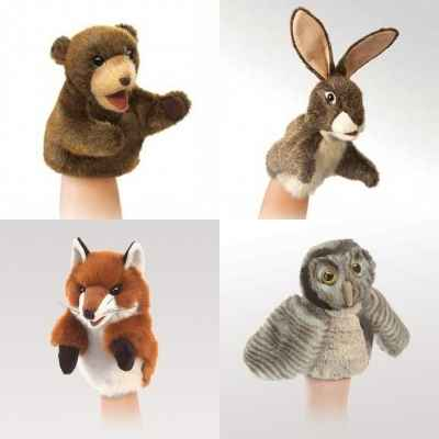 Lot 4 marionnettes peluche animaux a main Folkmanis -LWS-284