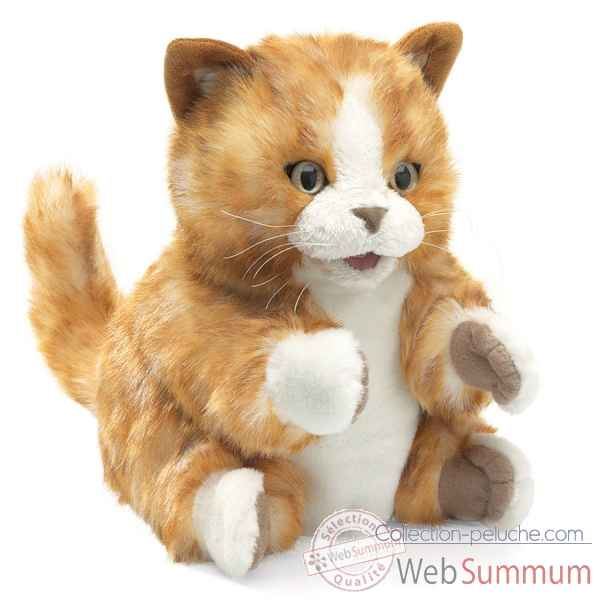 Marionnette Peluche Chaton Brun Orange Folkmanis -2845 -1
