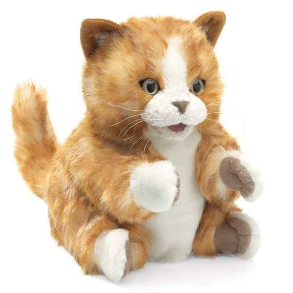 Marionnette Peluche Chaton Brun Orange Folkmanis -2845