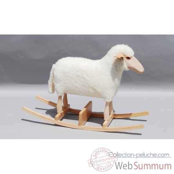 mouton bascule blanc si ge 48 cm meier de peluches histoire d 39 ours. Black Bedroom Furniture Sets. Home Design Ideas