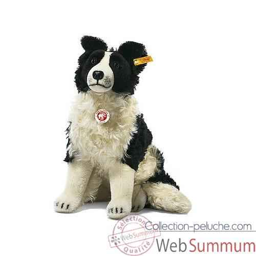 Peluche Steiff Chien Border Collie Hasso mohair assis -st031694