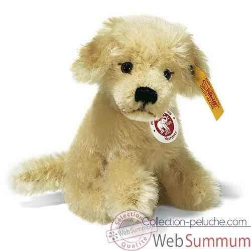 Peluche Steiff Chien Retriever mohair assis blond -st031380