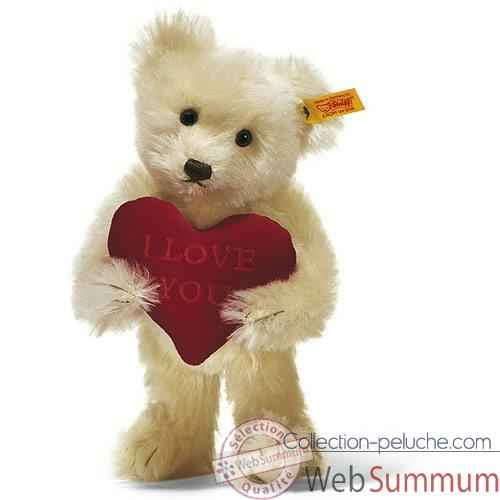 Peluche Steiff Ours Teddy I love you mohair creme -st002892