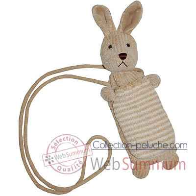Les Petites Marie - Peluche collection maille chenille, Porte telephone lapin