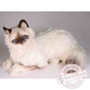 Peluche allongee chat birman 45 cm Piutre -2312