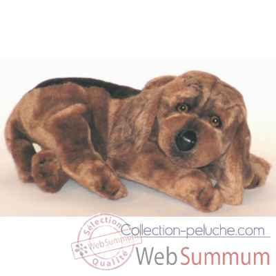 Peluche allongee chien de Saint Hubert 35 cm Piutre -3220