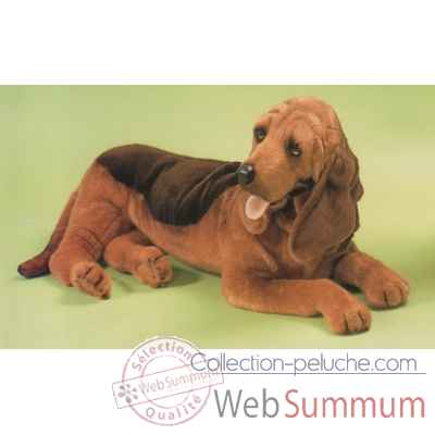 Peluche allongee chien de Saint Hubert 85 cm Piutre -2266