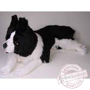 Peluche allongee border collie 90 cm Piutre -1216