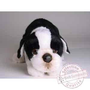 Peluche allongee boston terrier 35 cm Piutre -4222