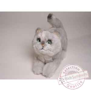 Peluche allongee chat british poils courts 28 cm Piutre -2463