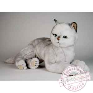 Peluche allongee chat british poils courts 45 cm Piutre -2461