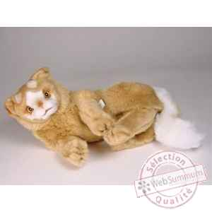 Peluche allongee chat Turc de Van marron 35 cm Piutre -329