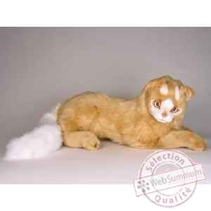 Peluche allongee chat Turc de Van marron 45 cm Piutre -327