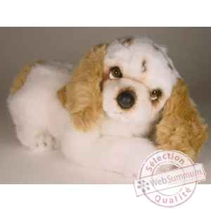 Peluche allongee cocker marron/blanc 35 cm Piutre -3208
