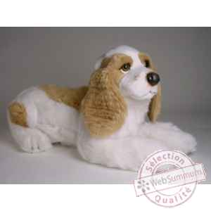 Peluche allongee cocker marron/blanc 55 cm Piutre -3207