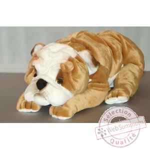 Peluche allongee bull-dog 90 cm Piutre -276