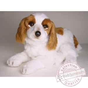 Peluche allongee Epagneul cavalier king charles 45 cm Piutre -1293