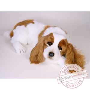 Peluche allongee Epagneul cavalier king charles 55 cm Piutre -1291