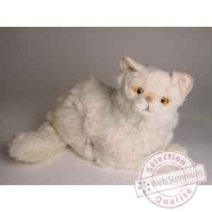 Peluche allongee chat persan chinchilla beige 30 cm Piutre -2308