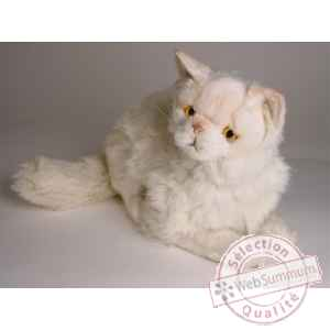 Peluche allongee chat persan chinchilla beige 50 cm Piutre -2306