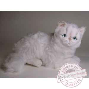 Peluche allongee chat persan chinchilla blanc 30 cm Piutre -2303