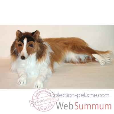 Peluche allongee collie 100 cm Piutre -1272