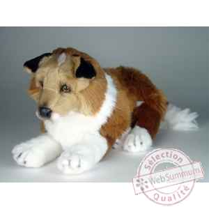 Peluche allongee collie 45 cm Piutre -1276