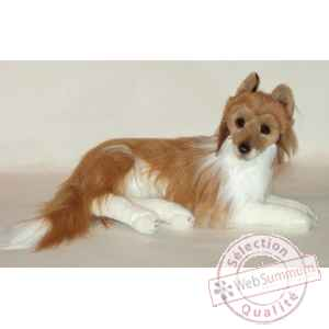 Peluche allongee collie 60 cm Piutre -1277