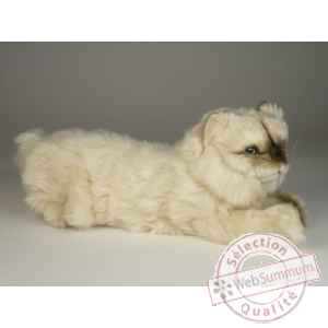 Peluche allongee chat colour point ou himalaya 40 cm Piutre -2429