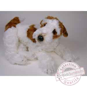 Peluche allongee fox terrier 60 cm Piutre -3276