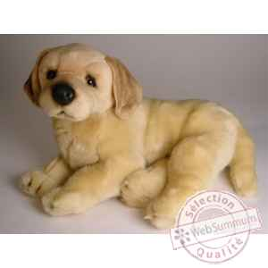 Peluche allongee golden retriever 40 cm Piutre -2206