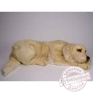 Peluche allongee golden retriever 85 cm Piutre -2202